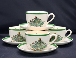 Spode Christmas Tree * 4 Sets Cups & Saucers * England, Excellent! - $24.74
