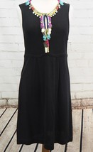 Nanette Lepore Beaded Sleeveless Sheath Dress Black Sweater Knit Key Hol... - $60.60 CAD