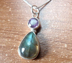 Labradorite and Faceted Amethyst 925 Sterling Silver Pendant Corona Sun ... - $15.83