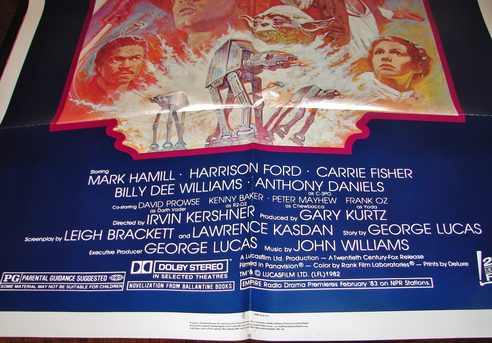 STAR WARS MOVIE POSTER THE EMPIRE STRIKES BACK R820180 27x41 Orig 1982 ReRelease