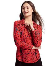 Benares Women's Gracia Button Down Shirt - Long Sleeve Shirt, Red, Large