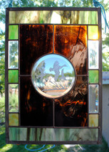 Stained Glass Window  Beveled Stained Glass Sandcarved Mallard Ducks - L... - $97.00