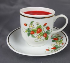 Vintage Avon Cup and Saucer Strawberries 22K Gold Trim 1978 Demi-Tasse - $5.93