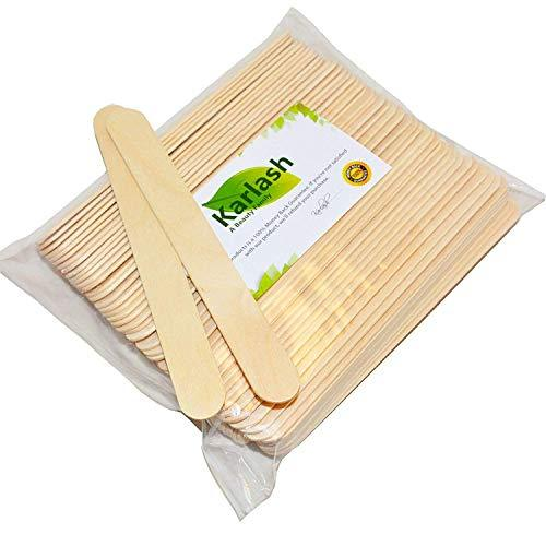Karlash 100 Pieces Large Wax Sticks, Wood Waxing Craft Sticks Spatulas Applicato