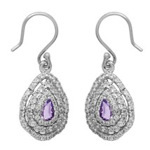Amethyst With White Topaz Gemstone 925 Sterling Silver Filigree Earring ... - $46.28