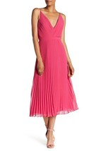 Laundry by Shelli Segal Accordion Pleated Chiffon Midi Dress, Very Berry, 8 - $69.29
