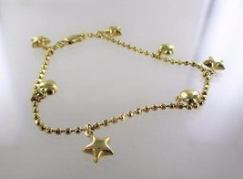14KT YELLOW GOLD DANGLING HEART & STAR CHARM BR... - $281.00