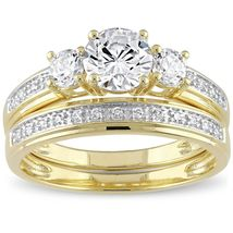 2.30Ct Diamond Three-Stone Engagement W/Matching Wedding Band 14K Yellow... - $158.99