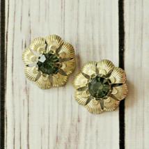 vintage Coro rhinestone flower clip earrings mid century midcentury - $9.89
