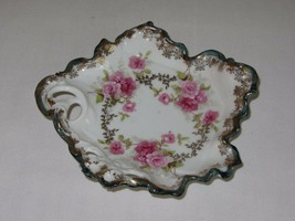 Wheelock China Austria Small Decorated Trinket Candy Dish Pink Roses Gil... - $24.74