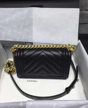 NWT Auth Chanel 2019 Chevron Quilted Leather Black Small Boy Flap Bag Matte GHW image 2