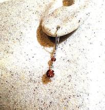 Genuine Brown Citrine 925 Sterling Silver Vintage Leverback Earrings - $28.16