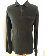 Polo Ralph Lauren Corduroy Shirt XL Vintage Half Button Long Sleeve Gree... - $30.64