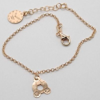 "925 STERLING ROSE SILVER ""LE FAVOLE"" BRACELET, PRINCESS CARRIAGE PENDANT, TALE"