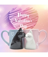 2pcs Lovely Cat Kissing Couple Mugs Ceramics Coffee Mugs Birthday Gift For Wife  - £17.59 GBP