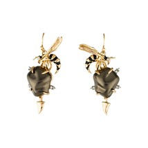 Alexis Bittar Hornet Baroque Brown Pearl Gold Plated Drop Earrings NWT - $148.01