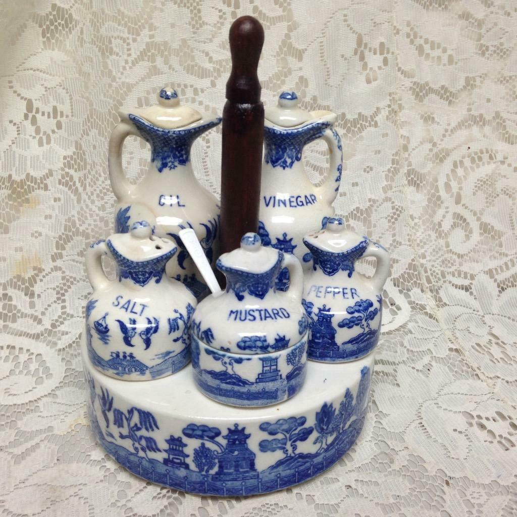 Primary image for Vintage, Rare, Japan 10-pc Blue Willow Condiment Set with Ceramic n Chrome Stand