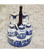 Vintage, Rare, Japan 10-pc Blue Willow Condiment Set with Ceramic n Chro... - $189.95