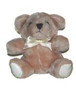 """Plush in a Rush Tan Teddy Bear w/Bow Lovey 6.5"""" Sits Stuffed Animal Toy - $11.76"""