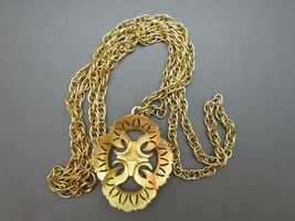 VTG Couture Trifari Pendant Necklace Double Chain Thick Gold Plated Designer EUC image 5