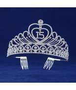 Quinceanera 15 Fifthteen Birthday Rhiestone Tiara Crown with Hair Combs - $24.19