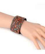 UNITED ELEGANCE Unique Cuff Wristband With Stones & Swarovski Style Crys... - $11.99