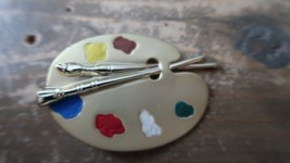 Vintage Artist Paint Brush Painting Brooch by AJC 5.5cm - $14.84