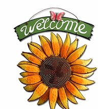 D-Fokes Handcrafts Vintage Metal Butterfly Sunflower Welcome Sign Front ... - $17.39