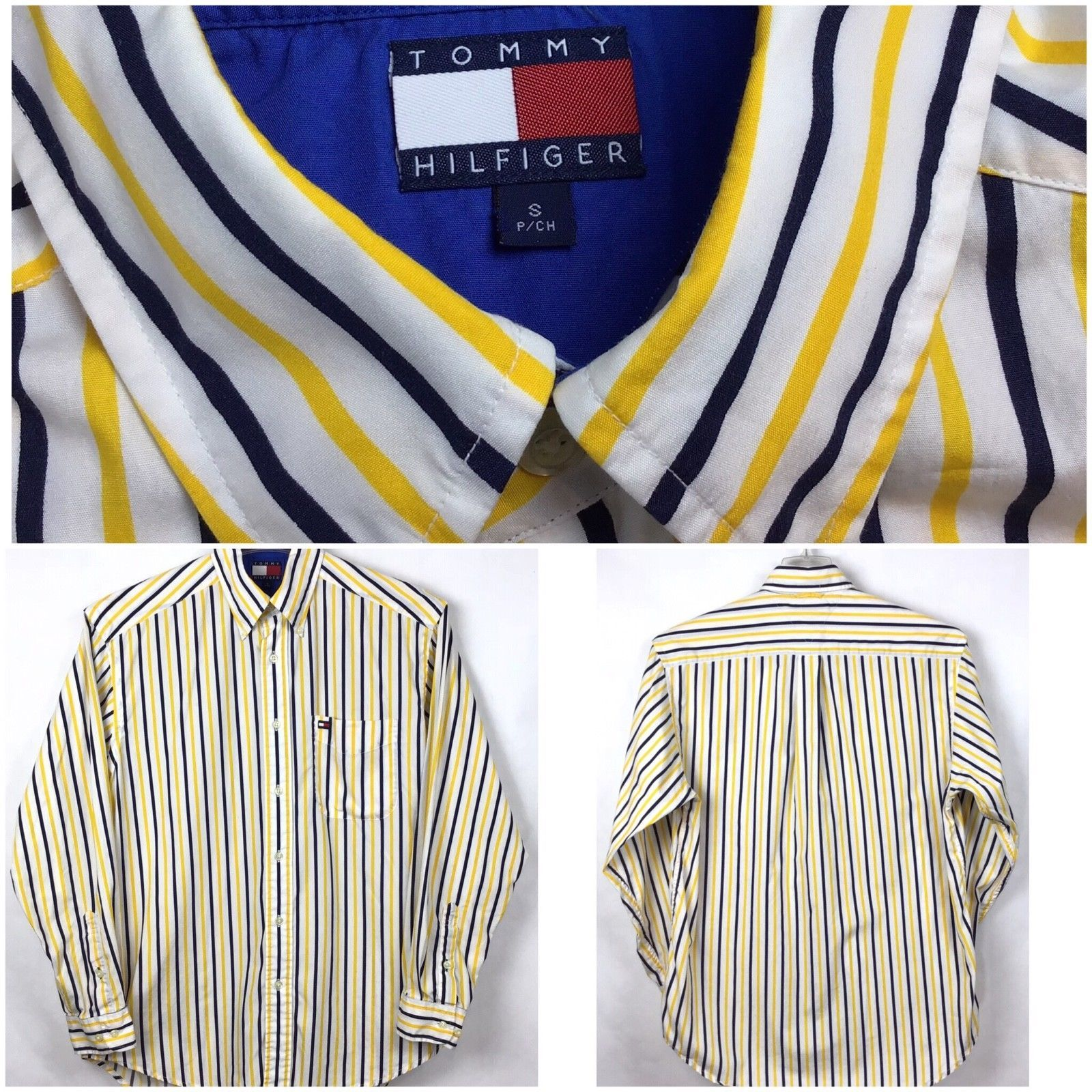 Tommy Hilfiger Mens Size S Shirt Button Front Long Sleeve Flag Logo Stripe A3-7