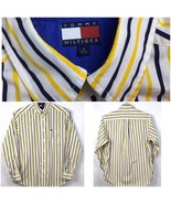 Tommy Hilfiger Mens Size S Shirt Button Front Long Sleeve Flag Logo Stri... - $29.87