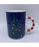 Starbucks Holiday 12 oz Ceramic Mug Blue Tree Candy Cane Stripe - $18.50
