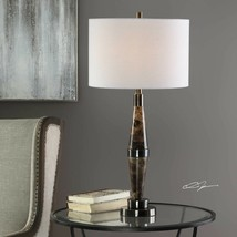 "MASTON XXL 31"" TAPERED STONE MARBLE ACCENT TABLE LAMP AGED METAL UTTERMOST - $213.40"