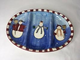 "Debbie Mumm Sakura SNOWMAN Large 16.75"" Oval Divided Serving Platter 3 S... - $18.58"