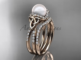 Celtic pearl womens wedding ring sets 14kt rose gold diamond engagement ring CT - $2,395.00