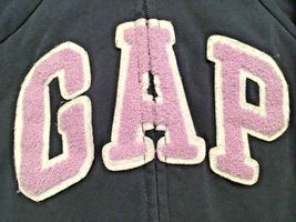 Girl's Gap Kids Zippered Hooded Navy Sweatshirt/Jacket With Lavender Logo (S) image 6