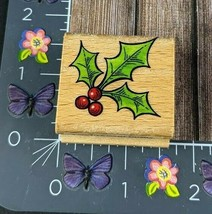 Stampcraft Holly Leaf Rubber Stamp Berries Christmas Holiday Plant Wood ... - $3.47