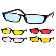 Womens Pop Color Lens Narrow Rectangular Cat Eye Black Plastic Sunglasses - $9.95