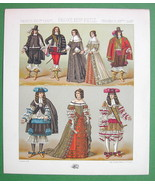 FRANCE Costume of Royalty Maria Theresa King - COLOR Litho Print  A. RAC... - $7.43