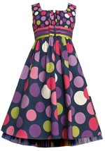 Bonnie Jean Big Girl Plus Navy-blue/purple Twin Dot Triple Ribbon Bow Dress