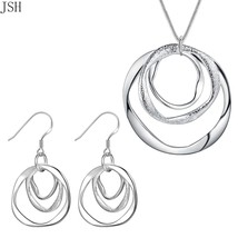 Wholesale silver color jewelry set fashion charm round circel pendant necklace E - $11.37