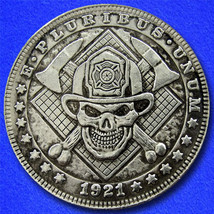 "Fireman Axe Skull ""Hobo Nickel"" on Morgan Dollar Coin ** - $4.79"