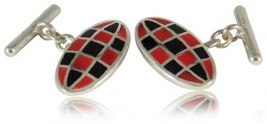 Cuff-Daddy Sterling Silver Chain Cufflinks With Black And Red Enamel Wit... - $92.44