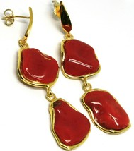 Ohrringe Silber 925, Anhänger, Gelb, Rote Koralle Natürlich Cabochon image 1