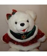 "Christmas Girl Teddy Bear Dan Dee Plush Stuffed 2003 14"" White Red Snowf... - $18.98"