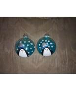 "2 Penguin Glass Bulb Christmas Tree Ornaments Xmas Glitter Sparkly 4"" x ... - $16.82"