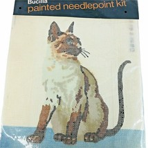 Vintage Bucilla Painted Needlepoint Kit Siamese Cat Picture Continental Stitch - $24.70