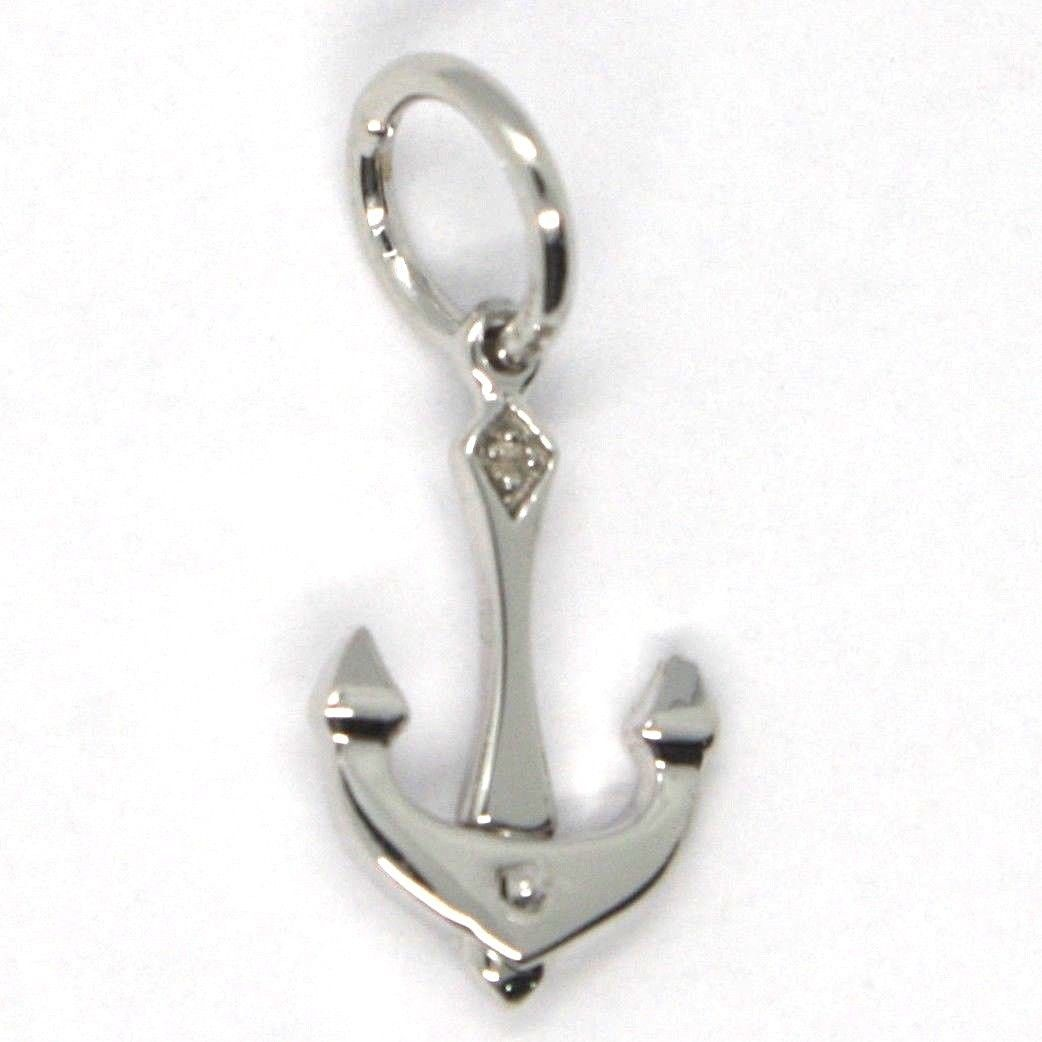 WHITE GOLD PENDANT 750 18K, ANCHOR SHAPED NAUTICA, MADE IN ITALY