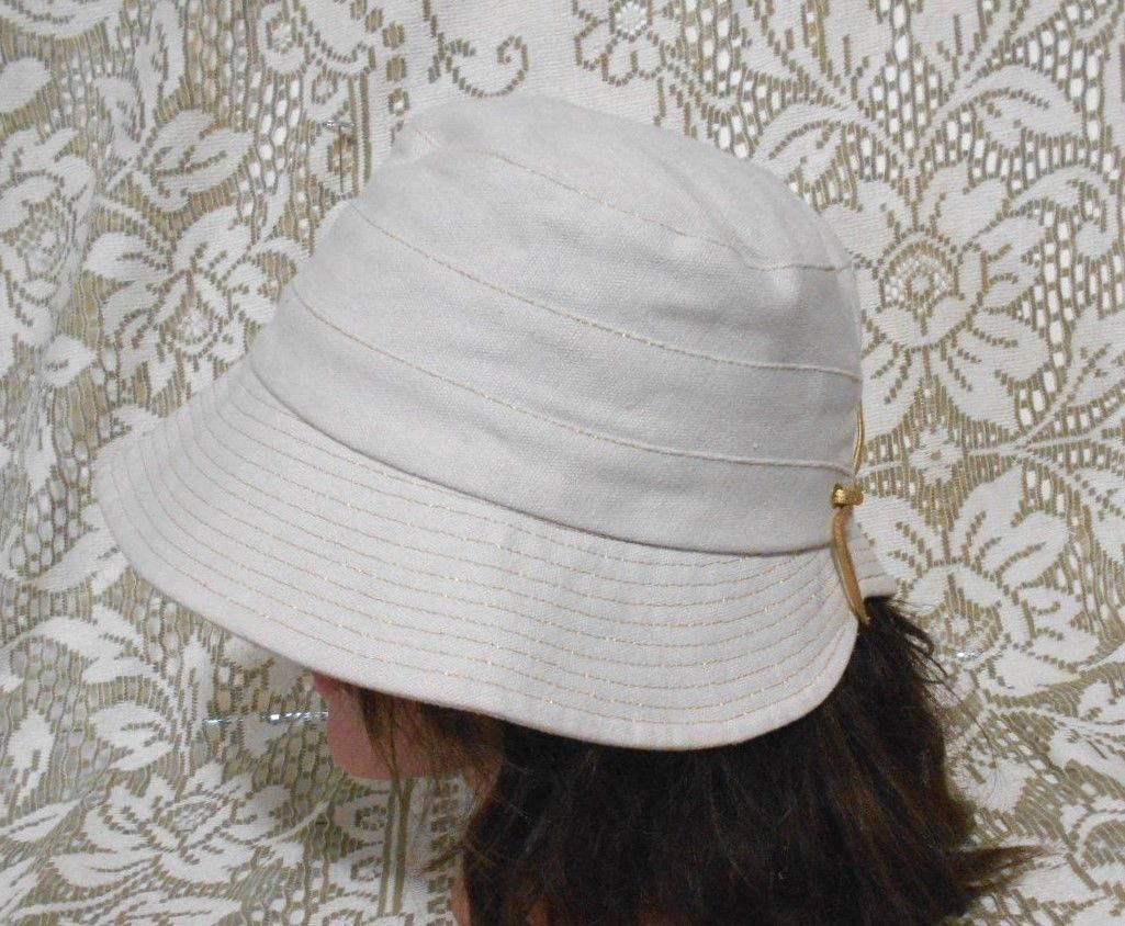c41f639d537e0 Ann Taylor Loft Medium Beige Gold Trim Cotton Bucket Brim Hat