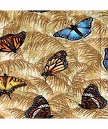 1 Yd Novelty Animal Bug Quilt Fabric Butterflies on Tan Background - $7.94
