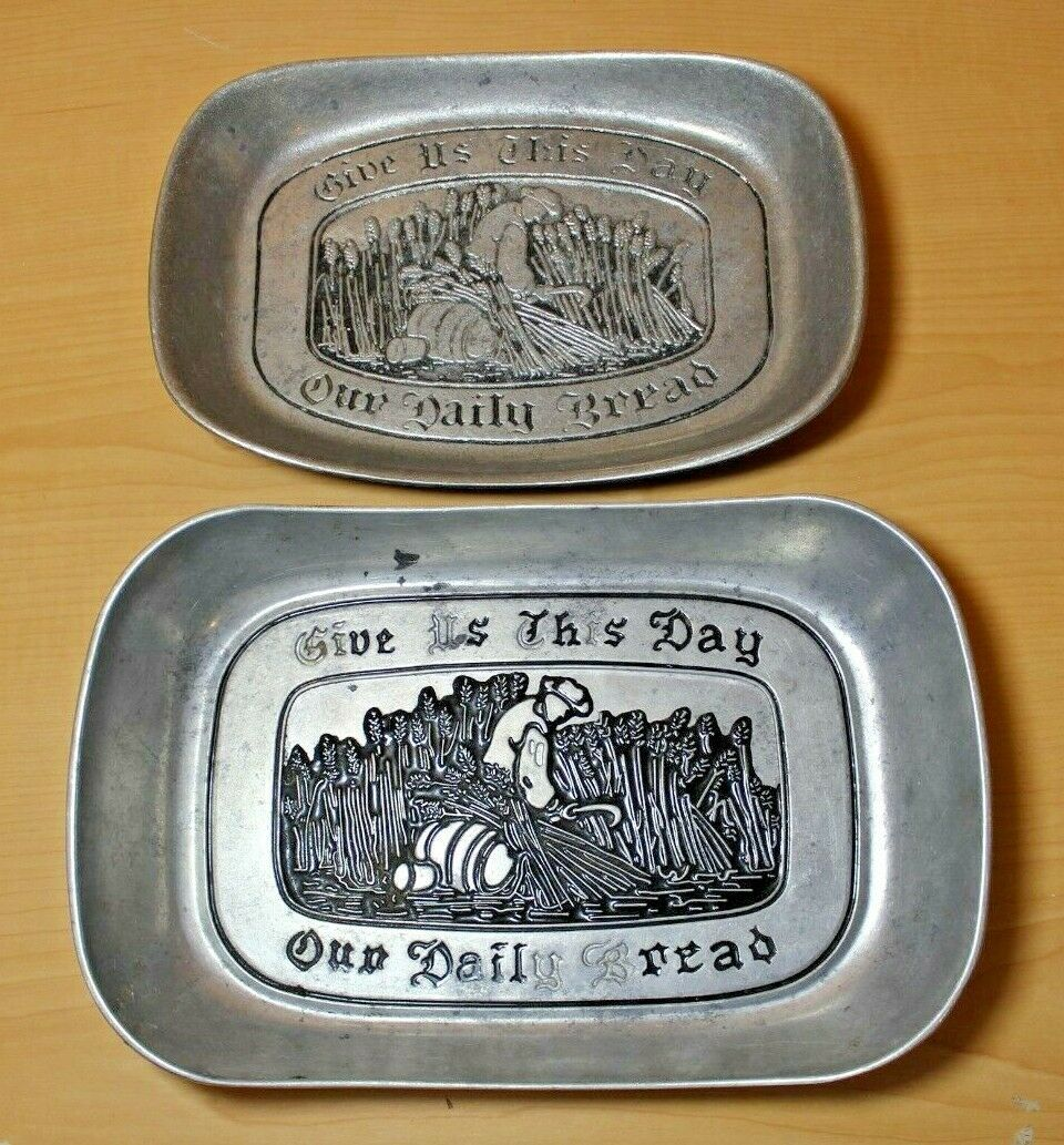 2 Wilton Armetale Pewter Give Us This Day Our Daily Bread Server Plates Platter - $27.99